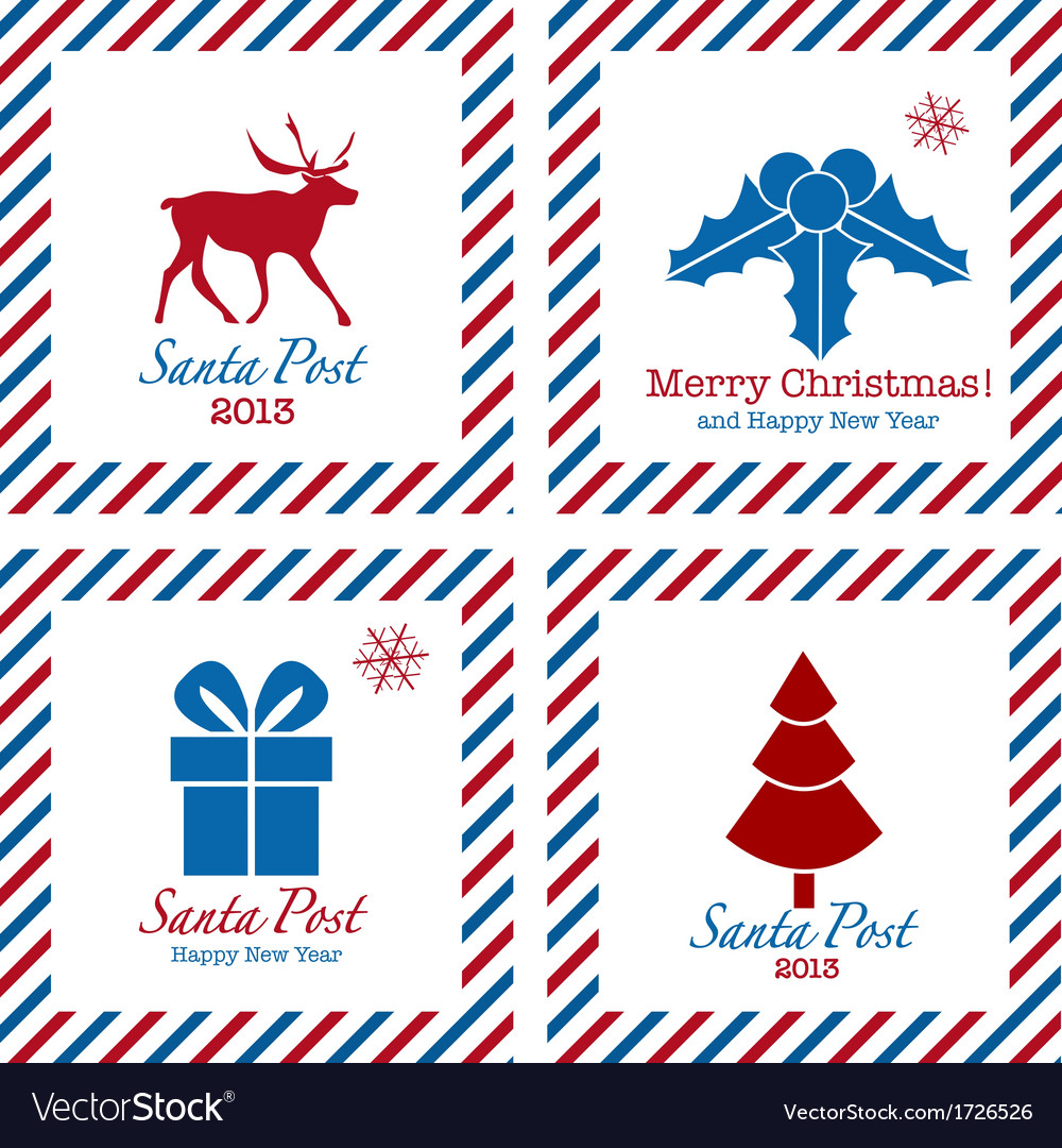 Merry christmas postal stamps vector