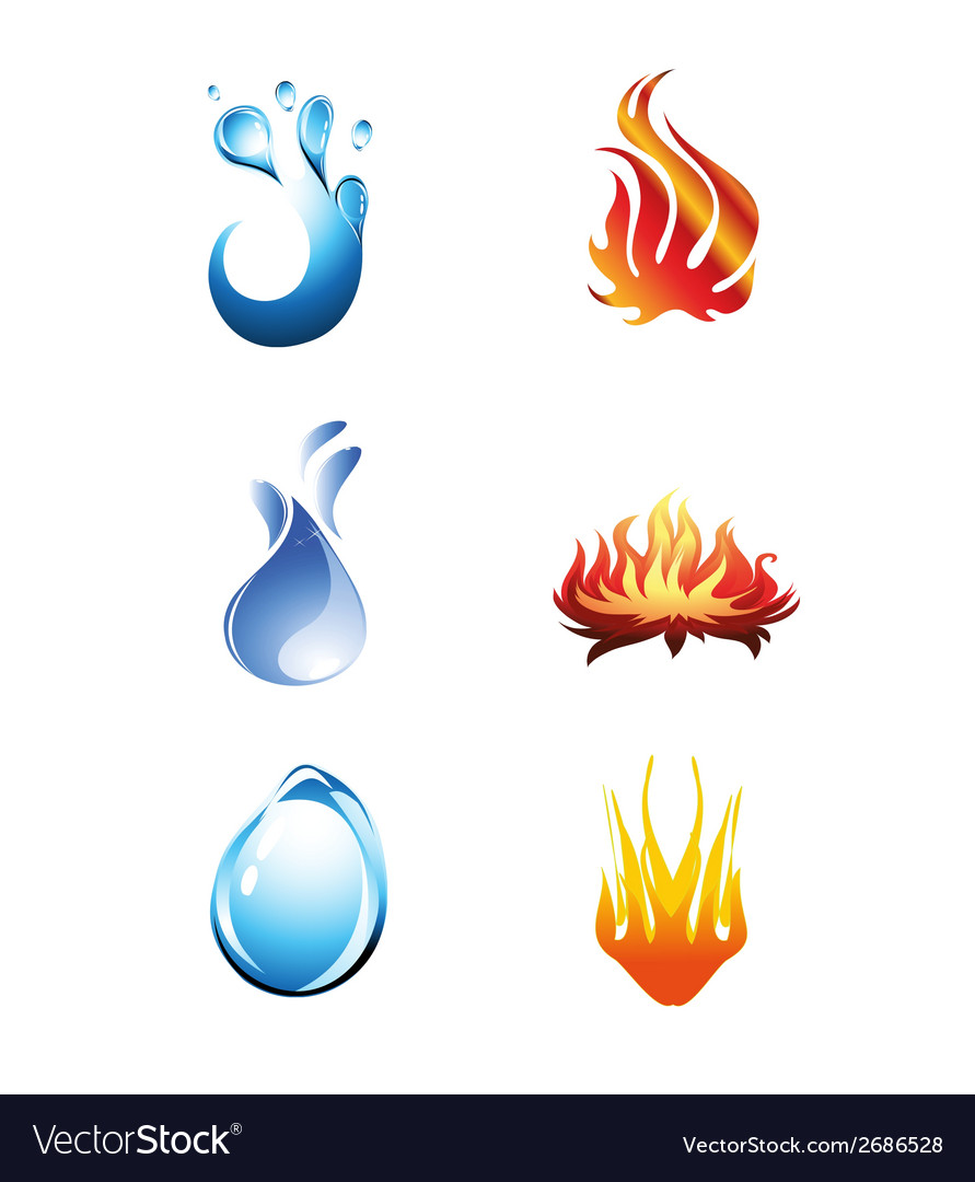 Fire and water icon vector
