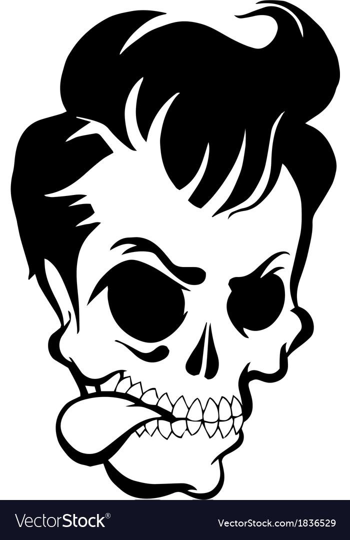 Pompadour skull vector