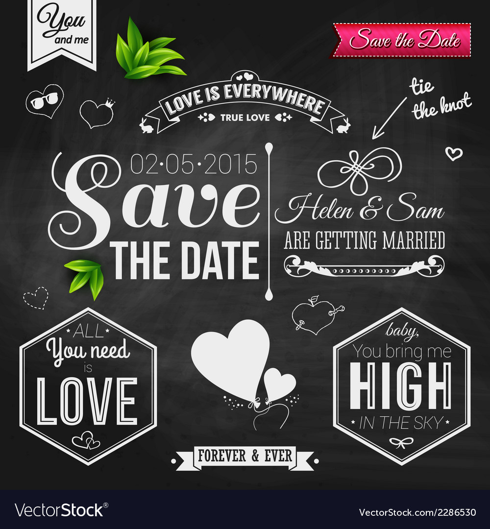 Save the date for personal holiday wedding vector