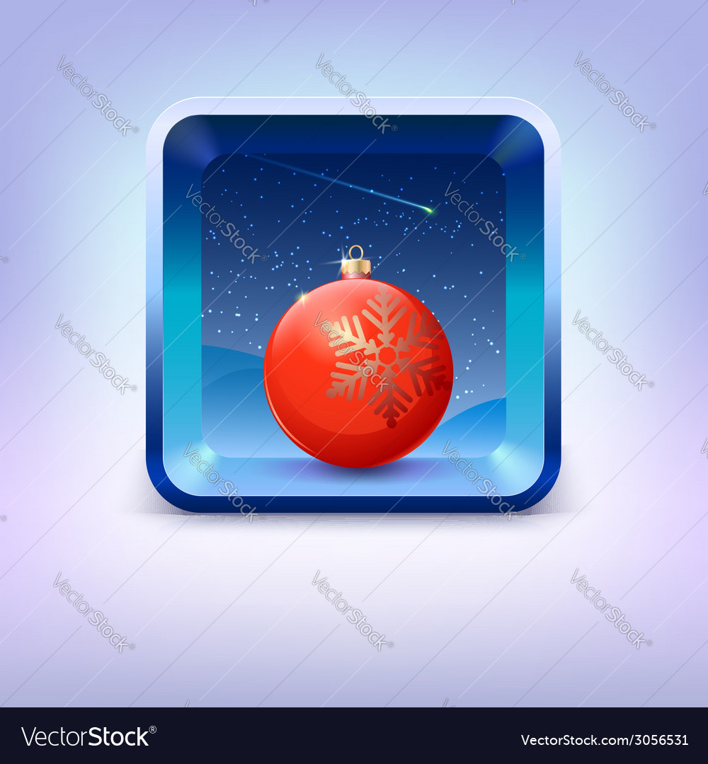 Icon with red christmas ball night sky and falling vector