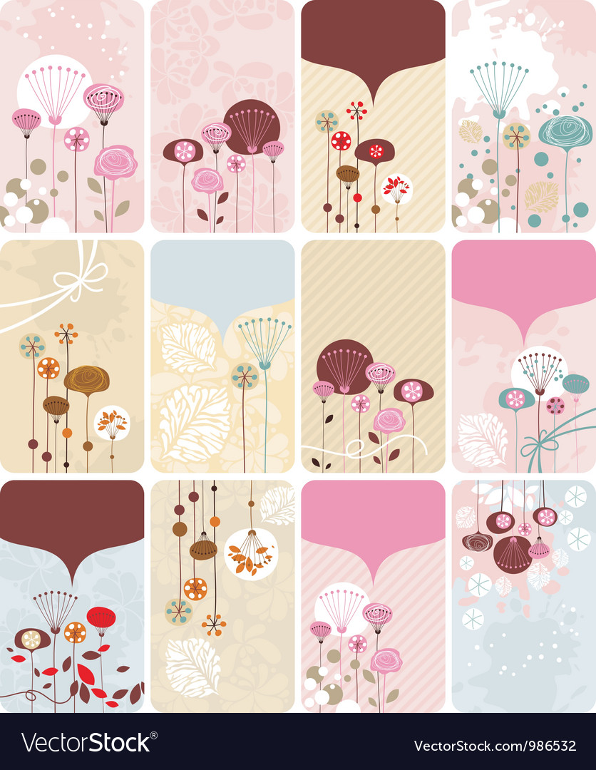 Floral gift cards collection vector