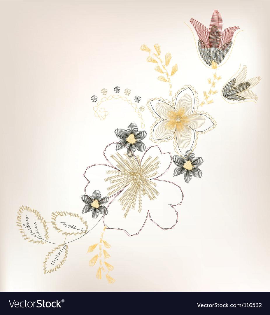 Vintage flower design vector