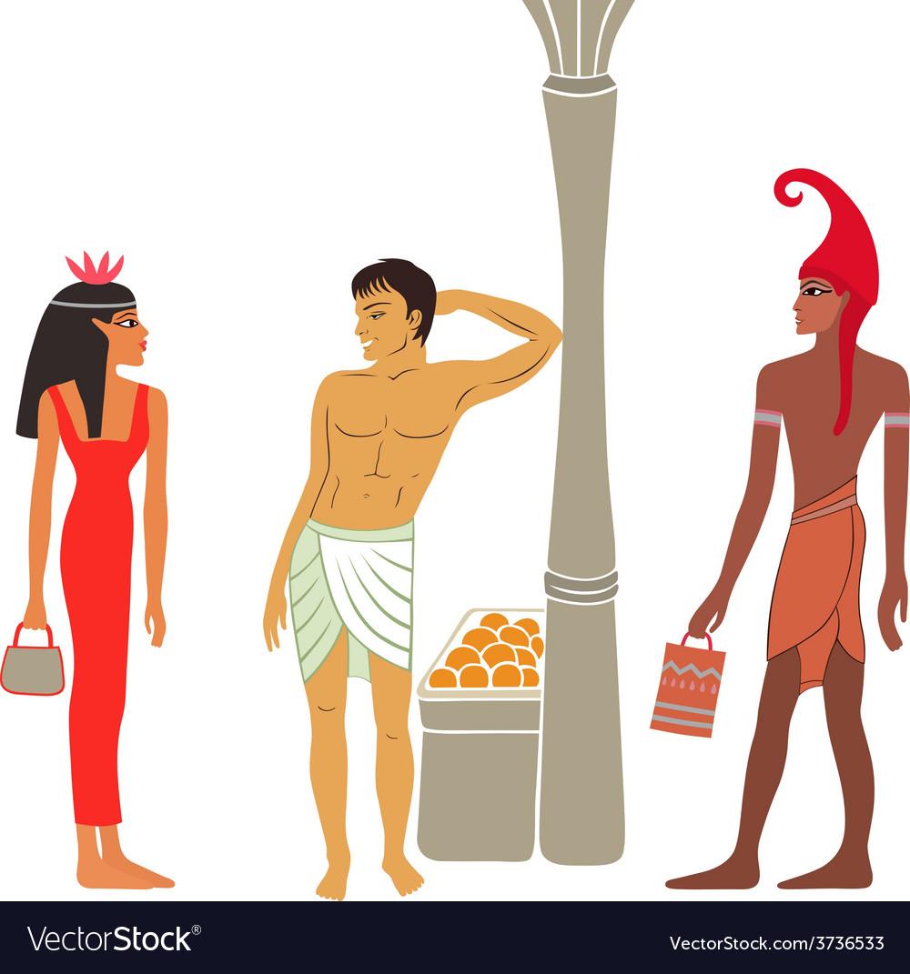 Ancient egyptian-greek market negotiations vector