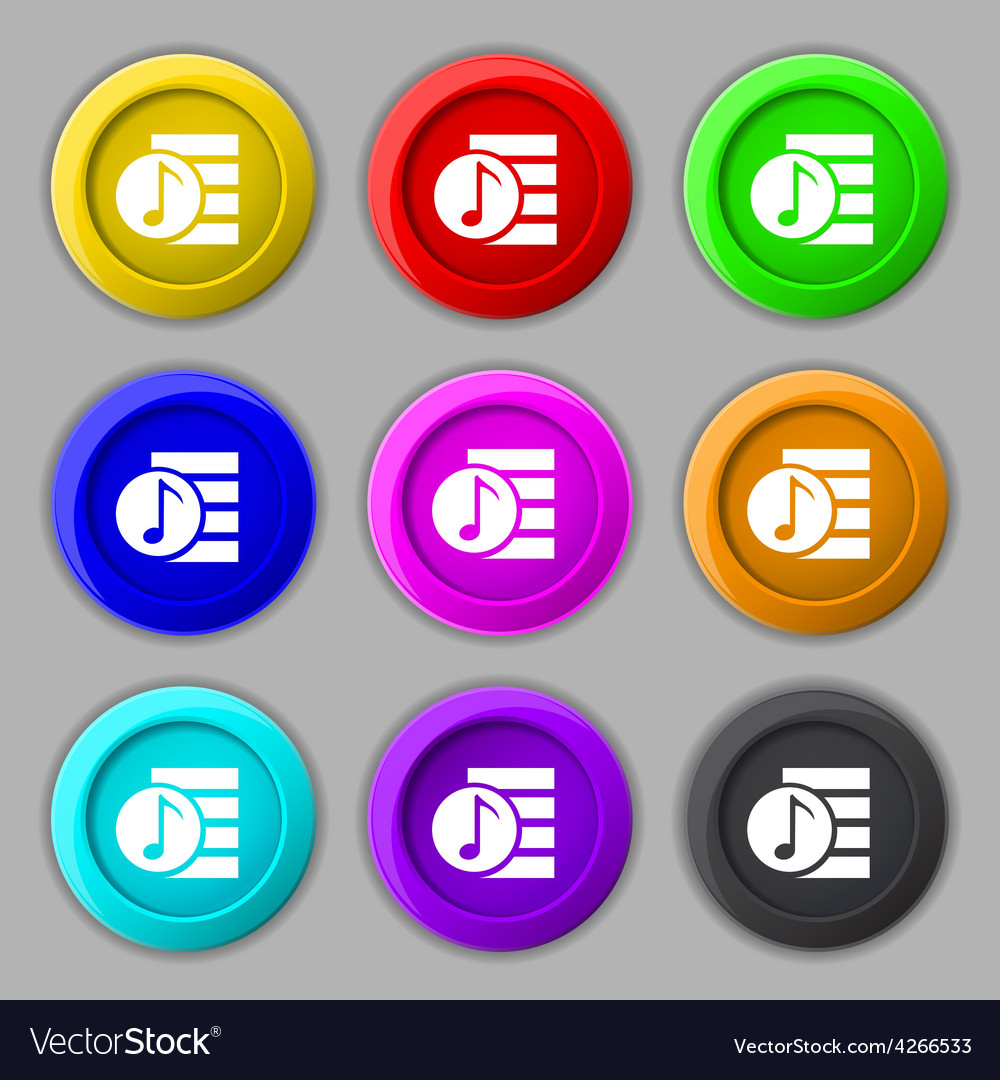 Audio mp3 file icon sign symbol on nine round vector
