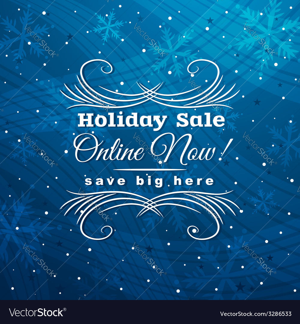 Blue christmas background with label for sale vector