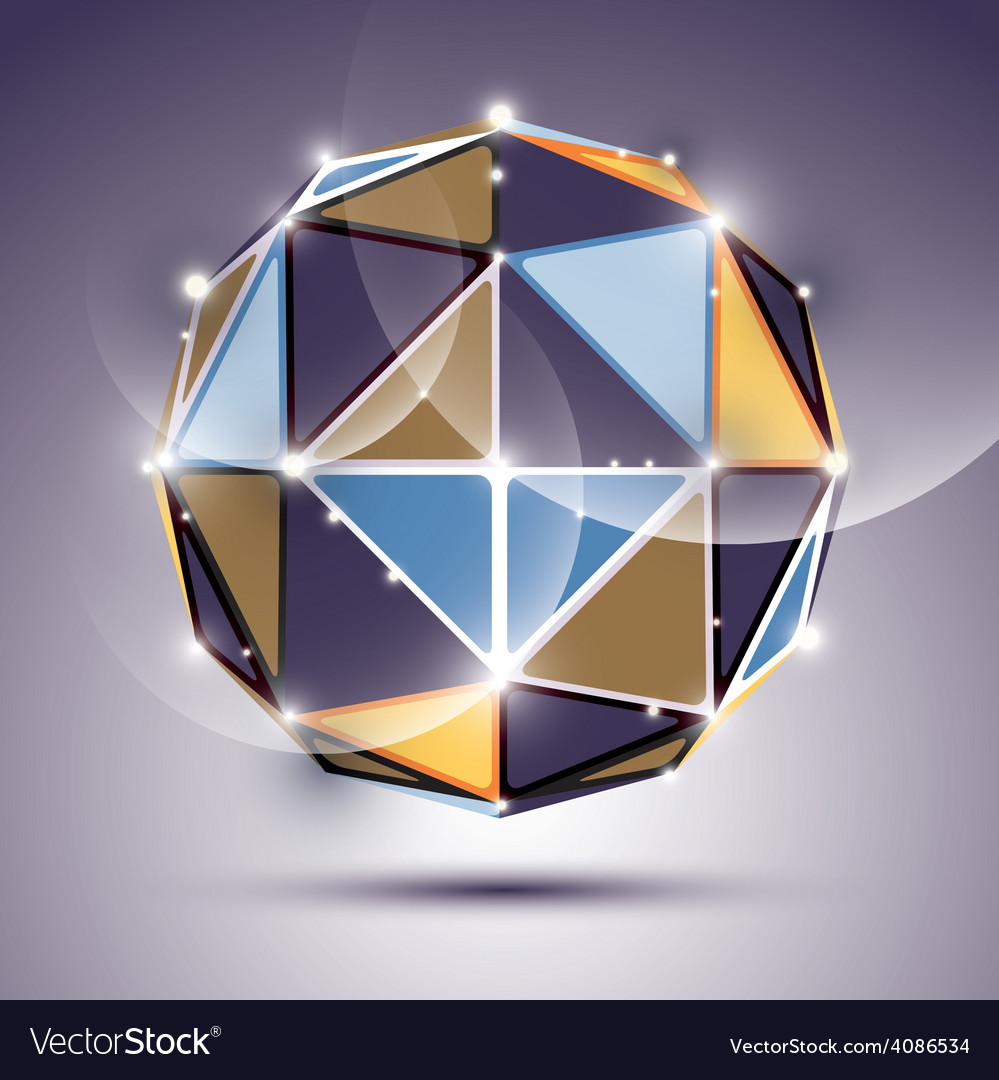 Abstract 3d facet festive sphere with sparkles vector