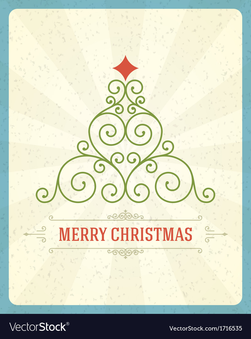 Christmas tree from flourishes calligraphic vector
