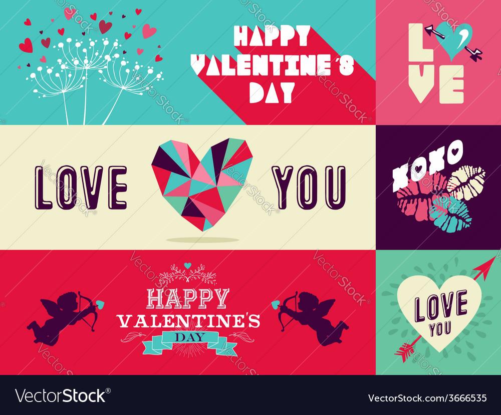 Happy valentines day web banner set vector