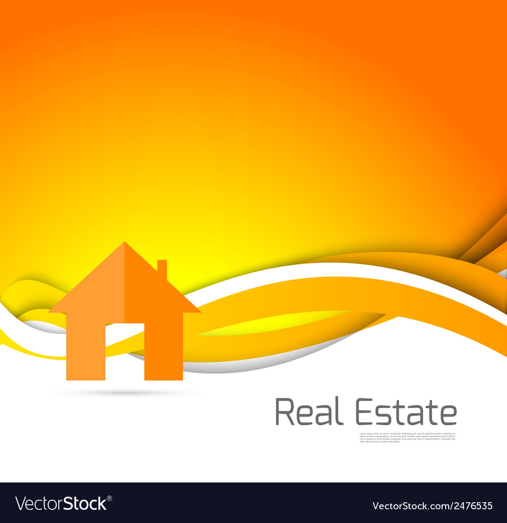 Real estate orange brochure vector