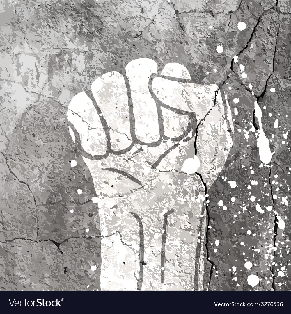 Grunge fist sign on concrete wall texture vector