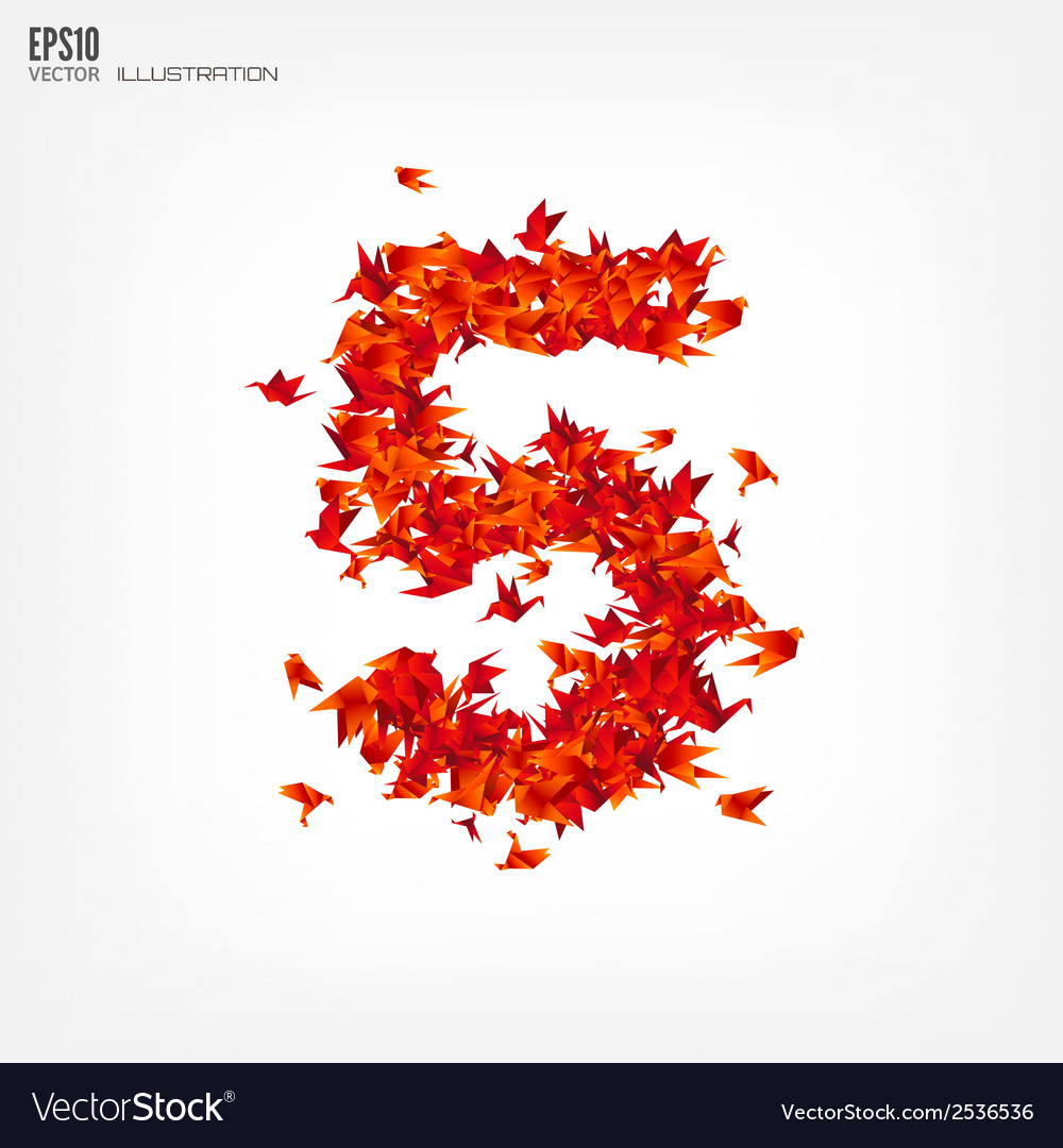 Number 5 numbers with origami paper bird on vector