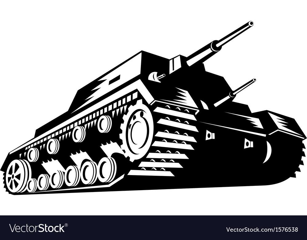 Army tank retro vector