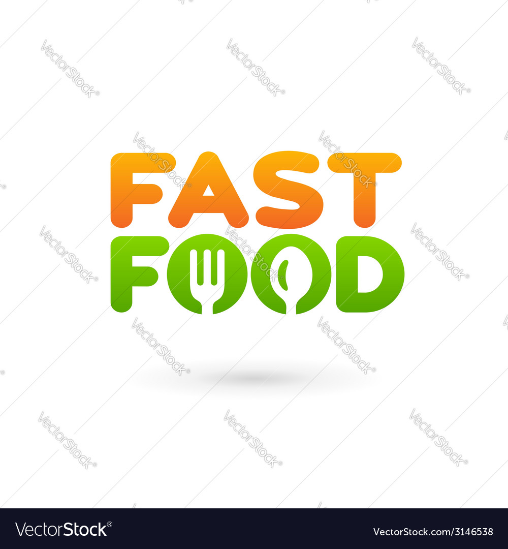 Fastfood word sign logo icon design template vector