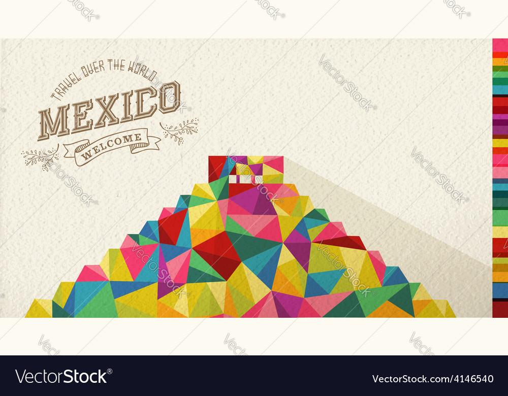 Travel mexico landmark polygonal monument vector
