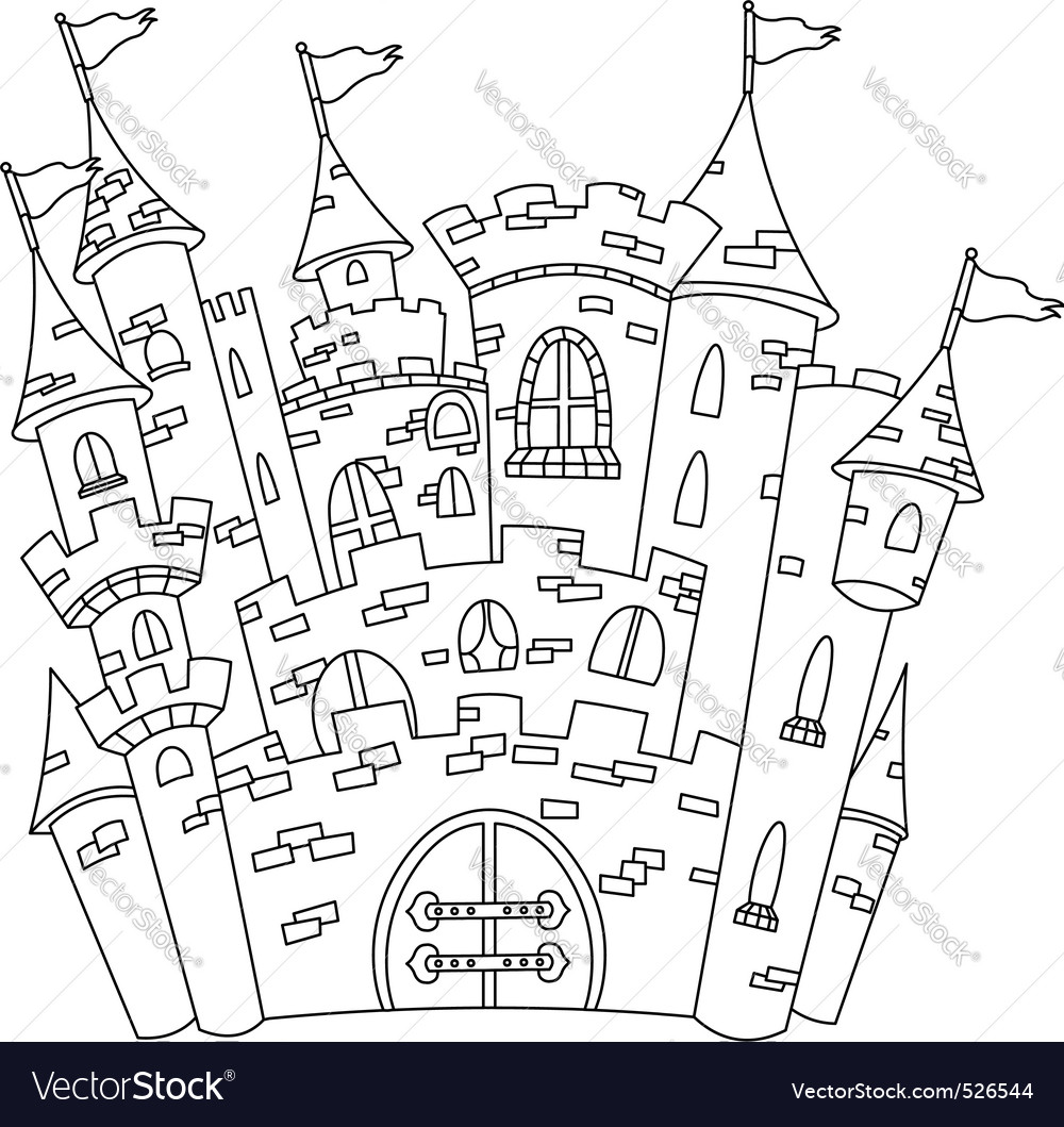 Outlined castle vector