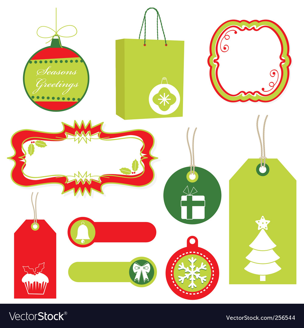 Red and green christmas tags vector
