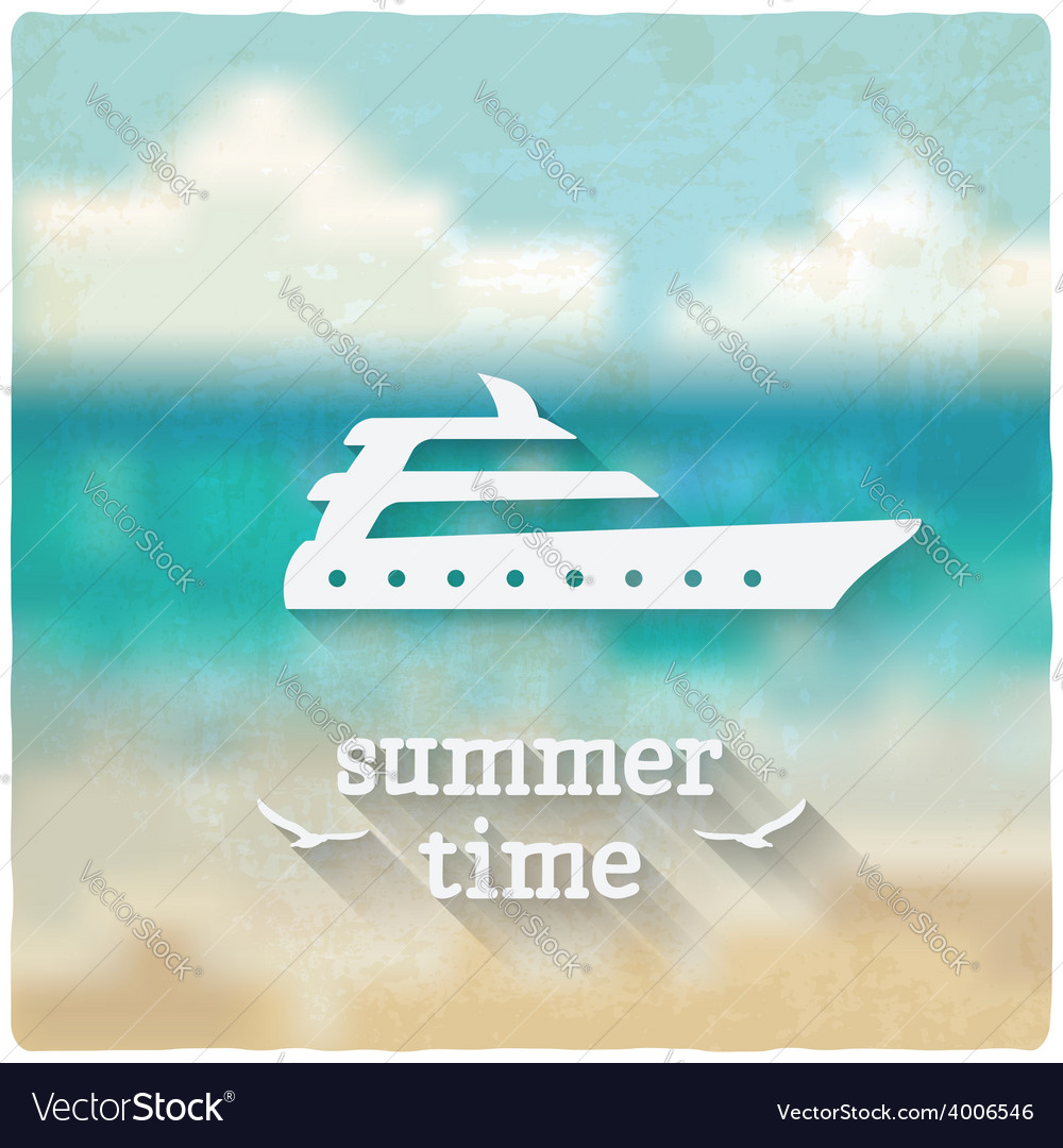 Marine background with yacht vector