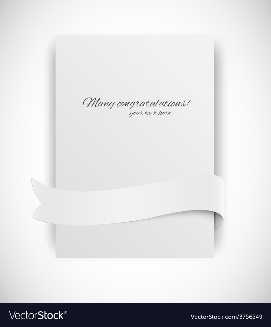 Card with ribbon vector