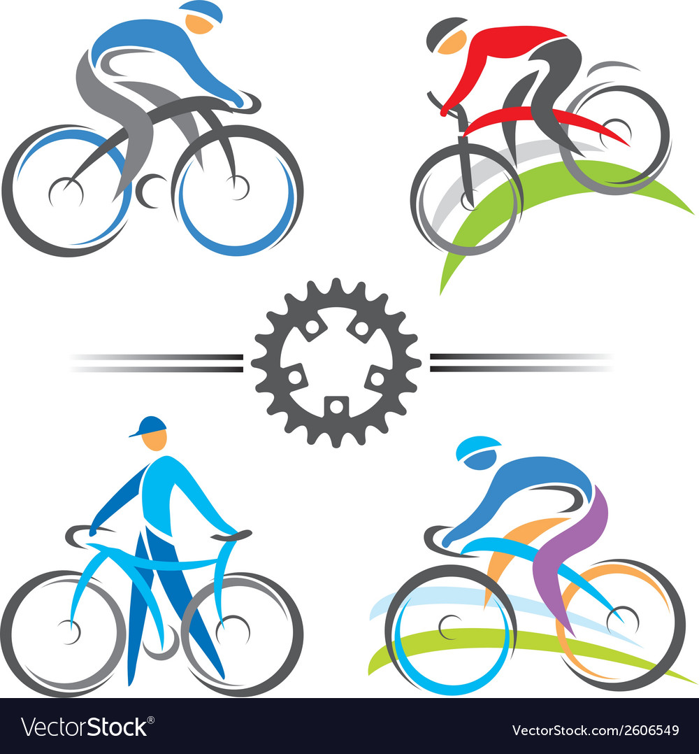 Cycling icons vector