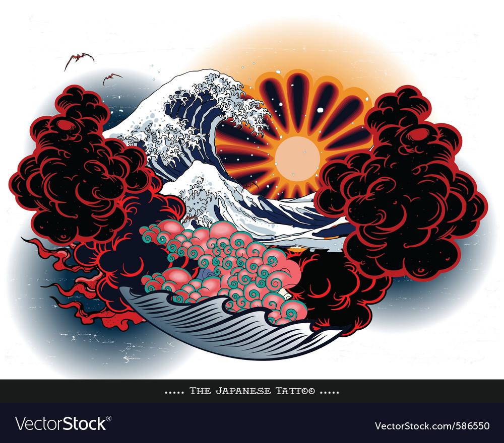 Japanese tattoo landscape vector