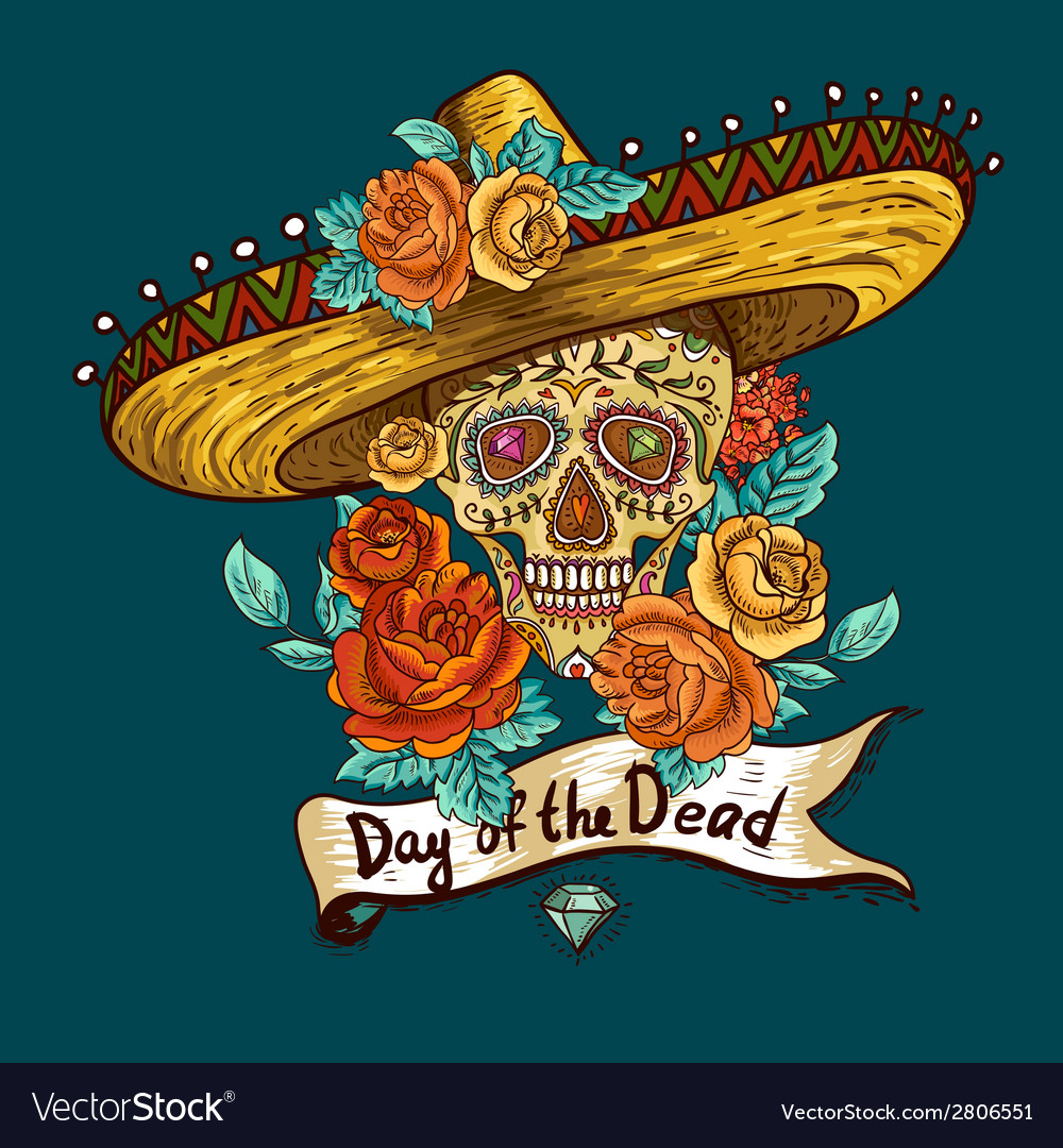 Floral background with skull in sombrero vector