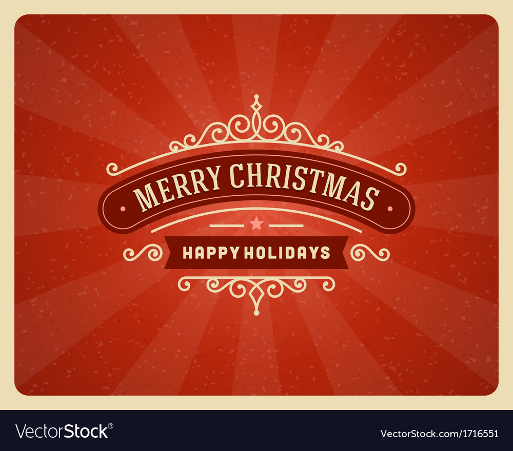 Merry christmas postcard ornament vector