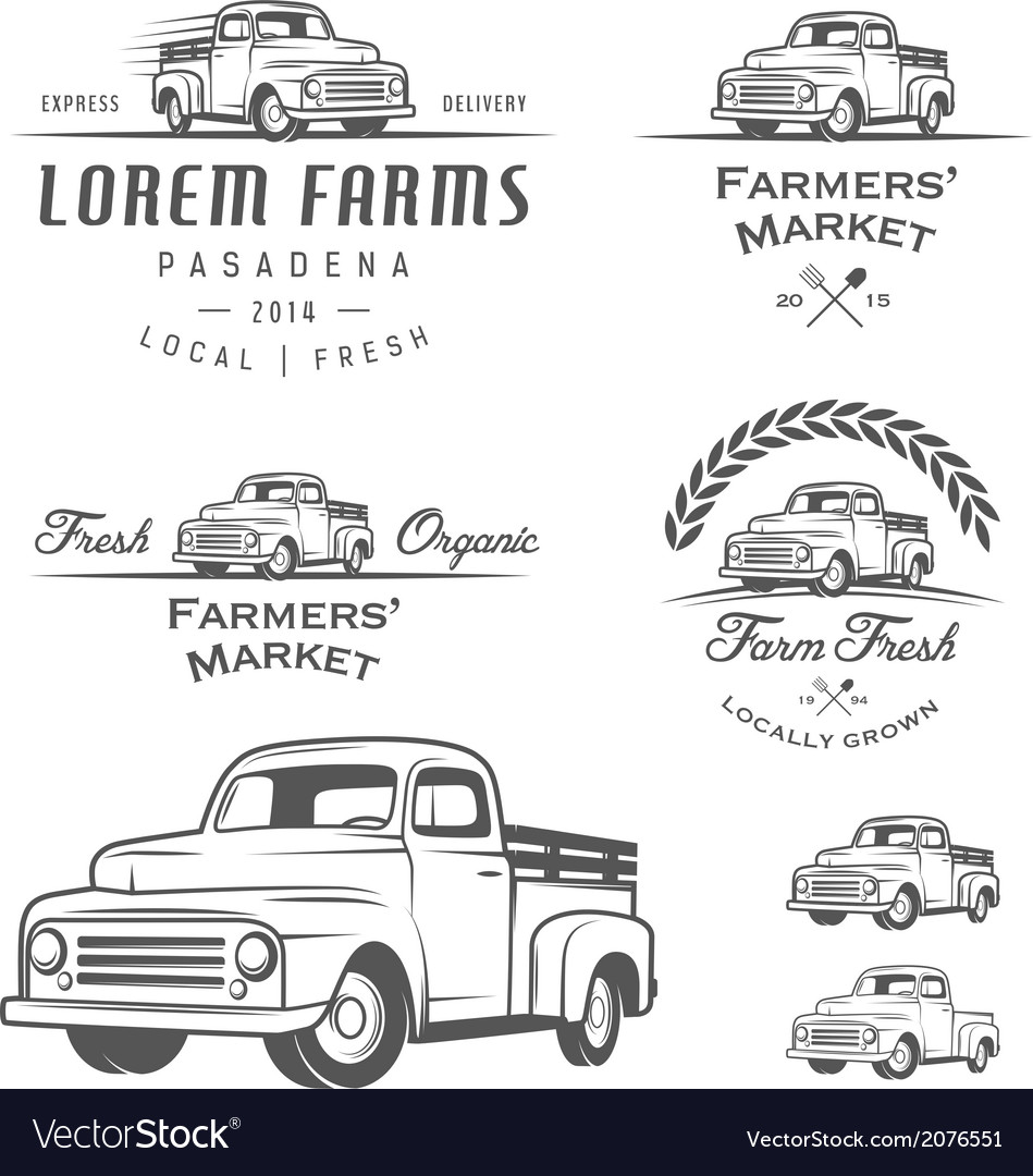Set of retro farming labels and badges vector