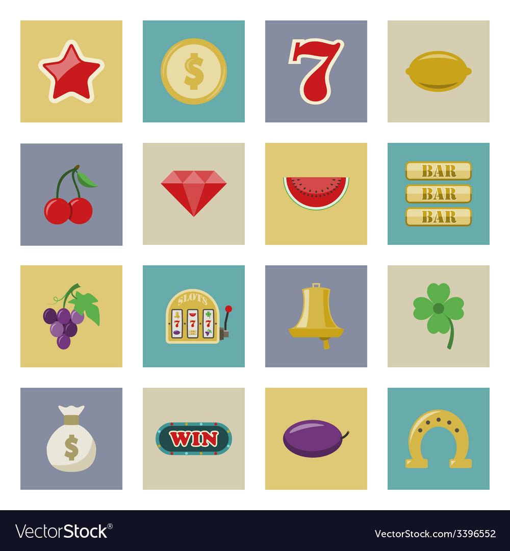 Slot machine and gambling flat icon set vector