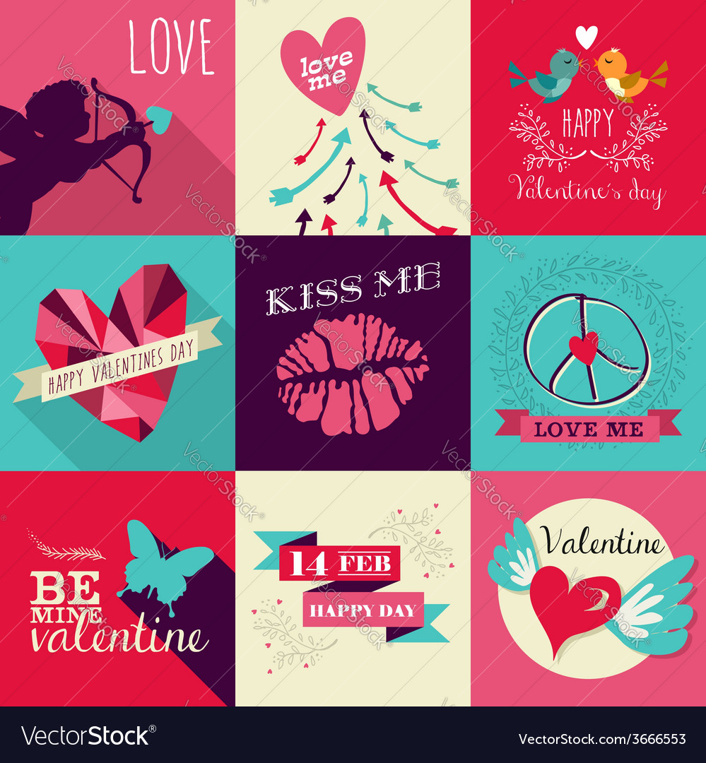 Happy valentines day greeting card set vector