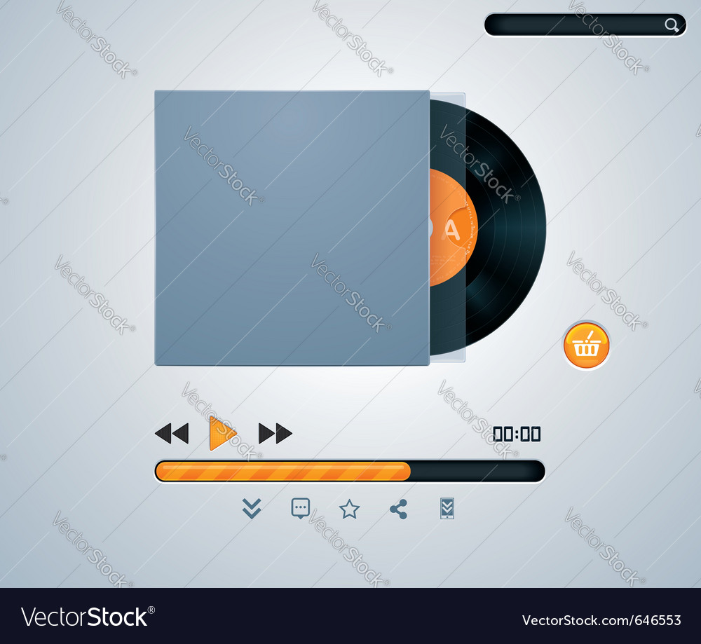 Vinyl disk in envelope music player vector