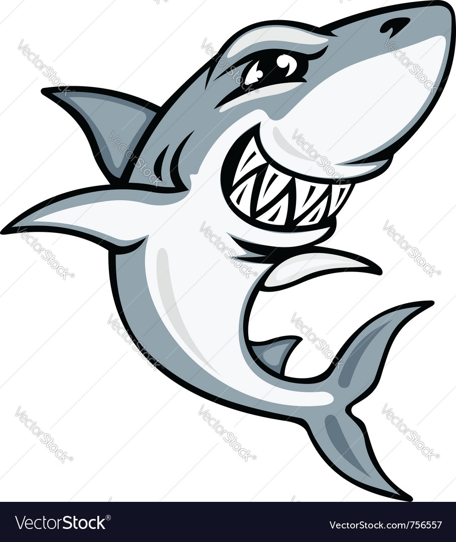 Cartoon smiling shark vector