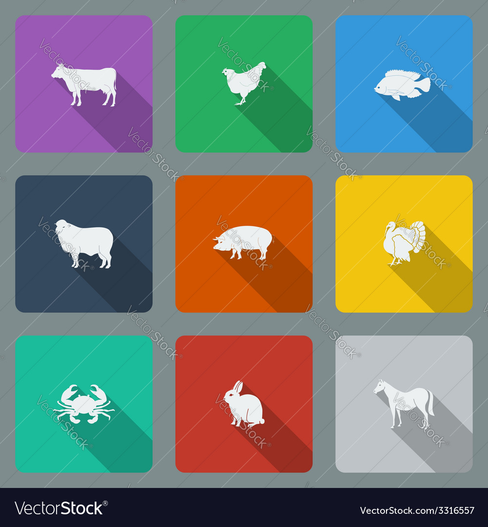 Fashionable varicolored flat icons with long vector