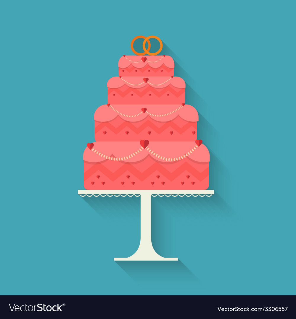 Wedding cake style flat vector
