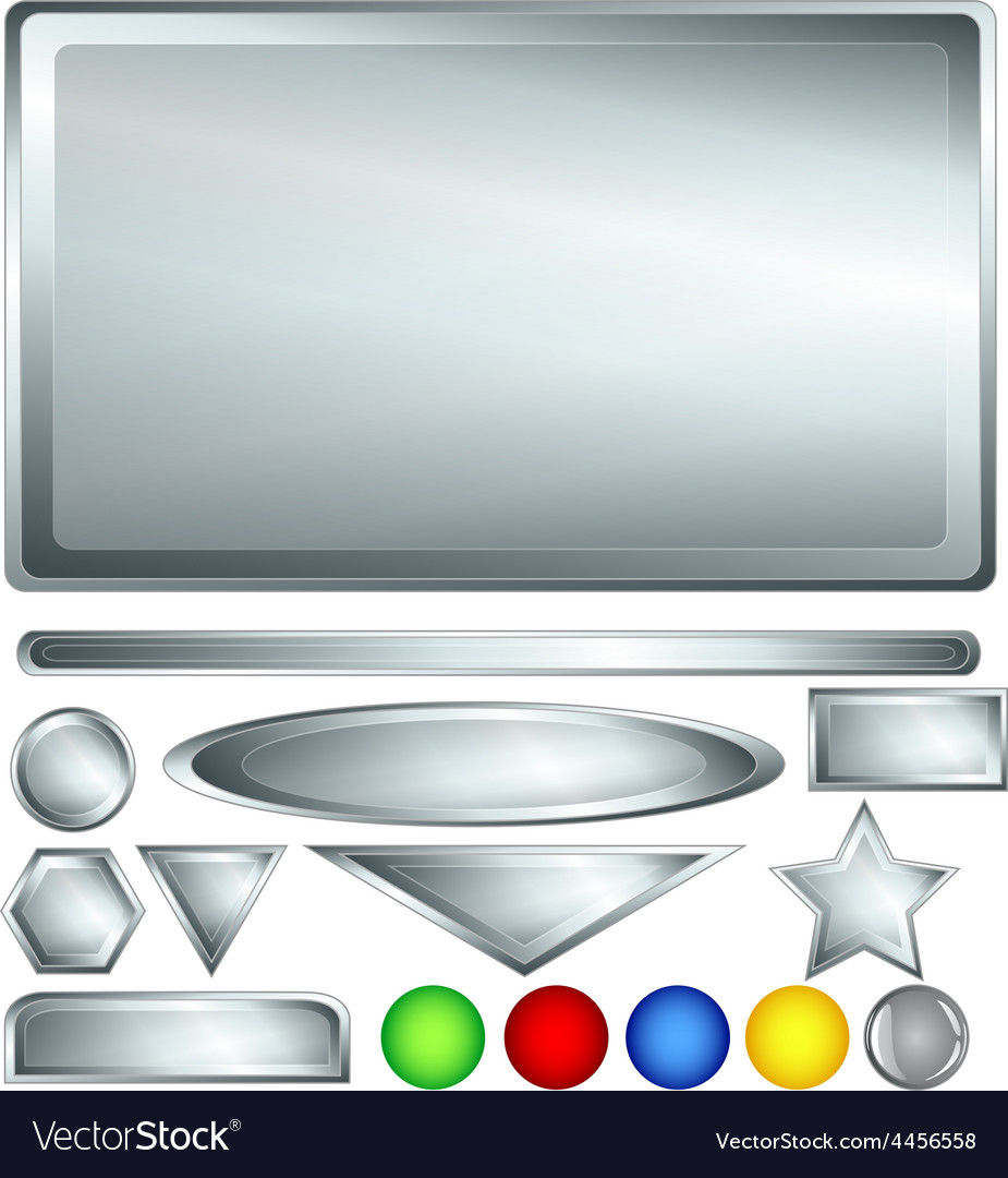 Silver web buttons and bars vector