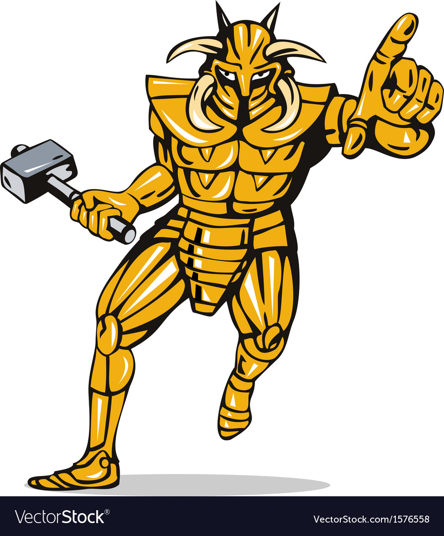 Villain knight armor with hammer vector