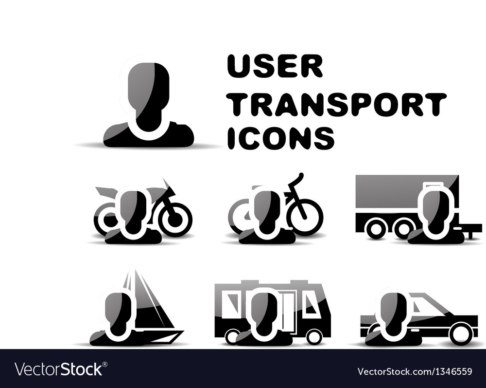 Black user transport glossy icon set vector