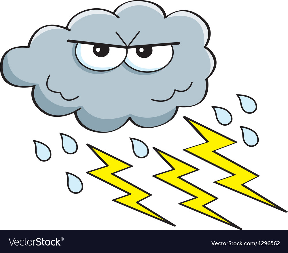Cartoon rain cloud with lightning bolts vector