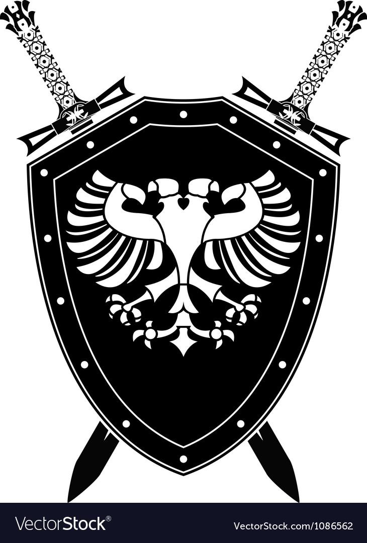 Heraldic eagle and swords vector