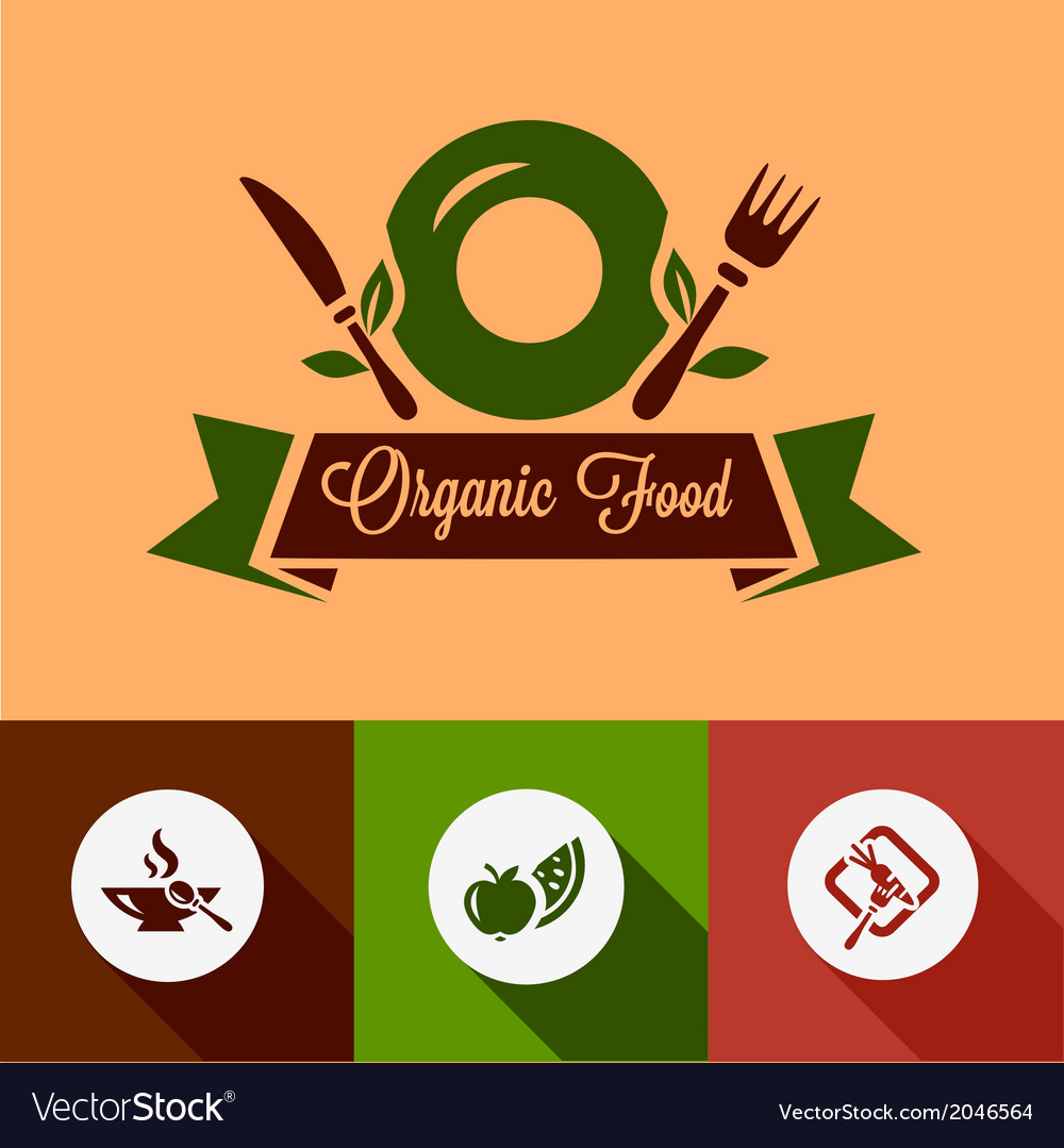 Flat organic food icons vector