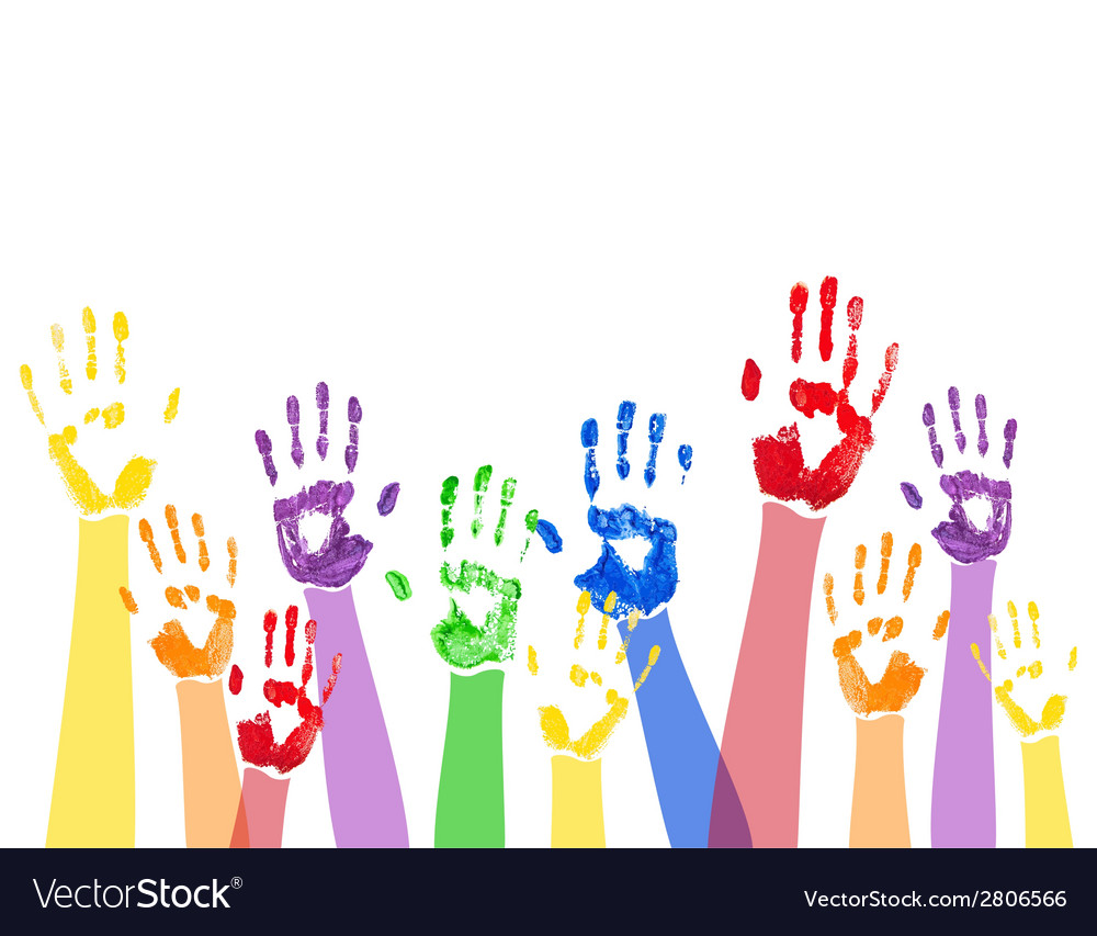 Horizontal background with colored paint hands vector