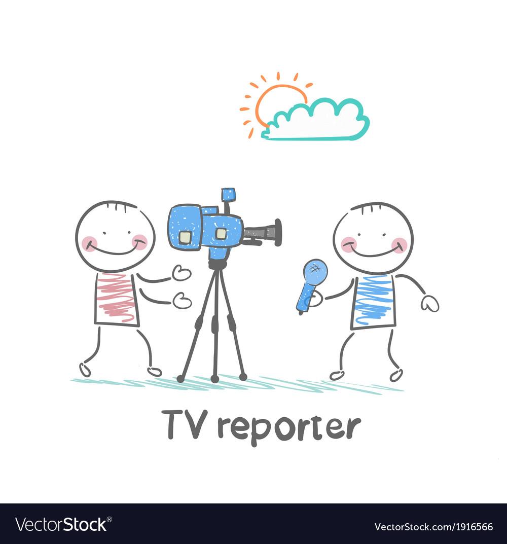 Tv reporter speaks into the camera vector