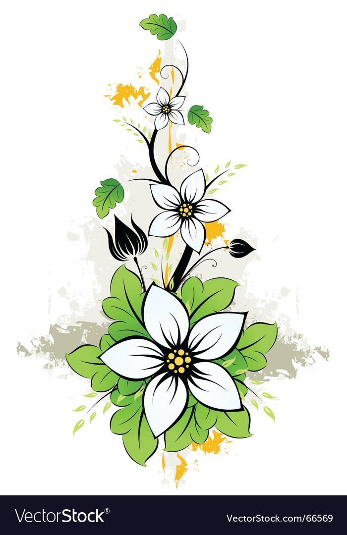 Grunge summer flowers vector