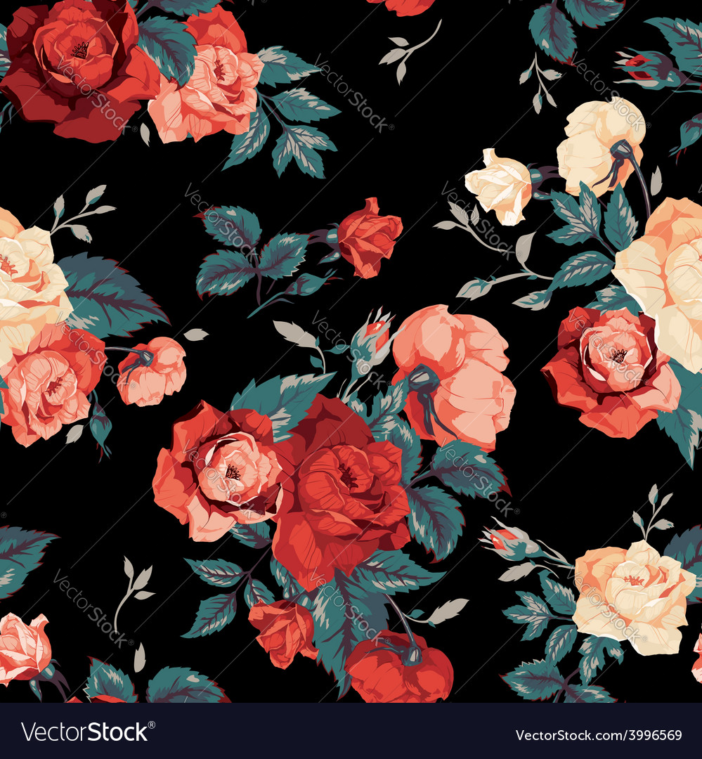 Seamless floral pattern with red and orange roses vector