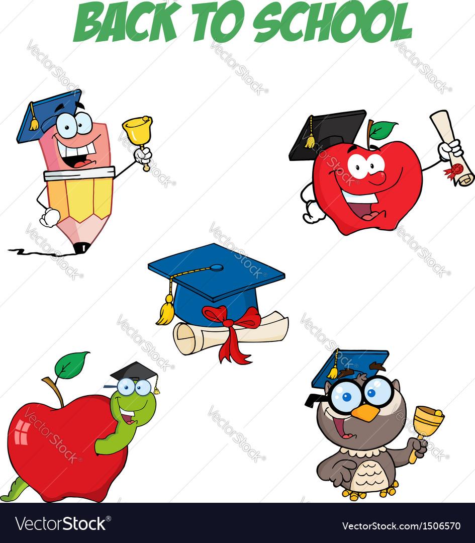 Graduation cartoon character-collection vector