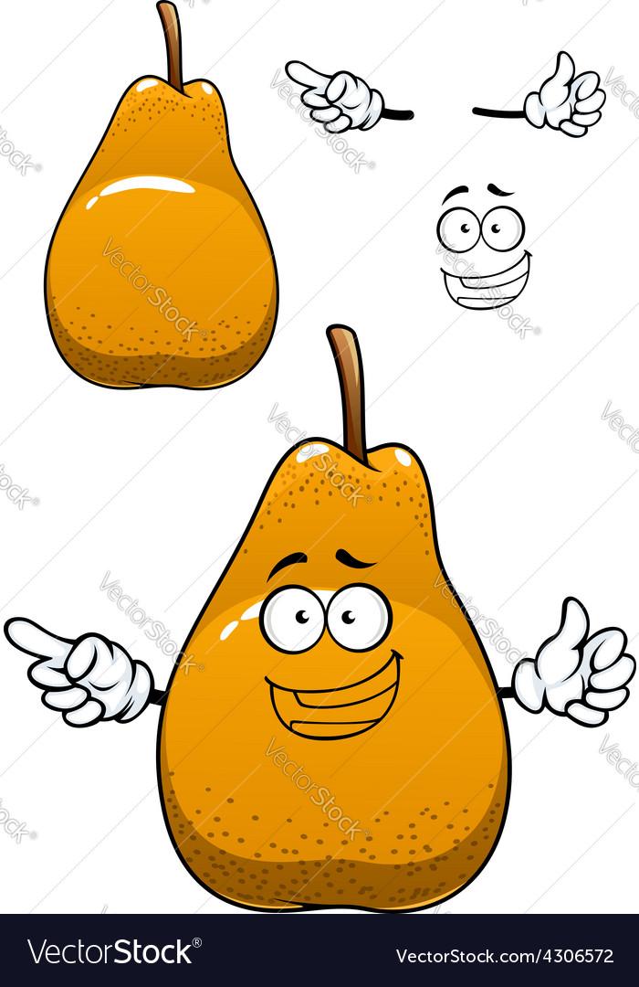 Funny yellow pear fruit cartoon character vector
