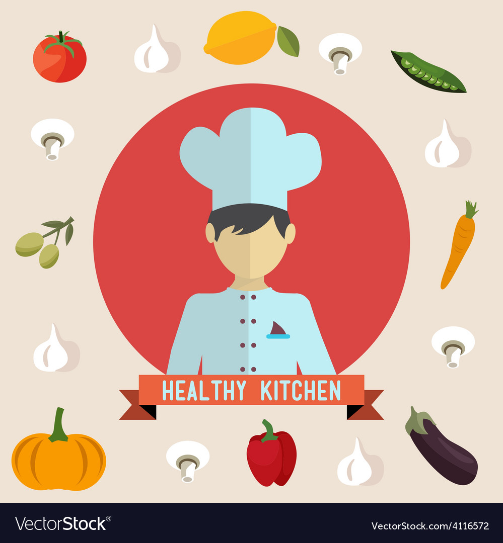 Healthy kitchen icons vector