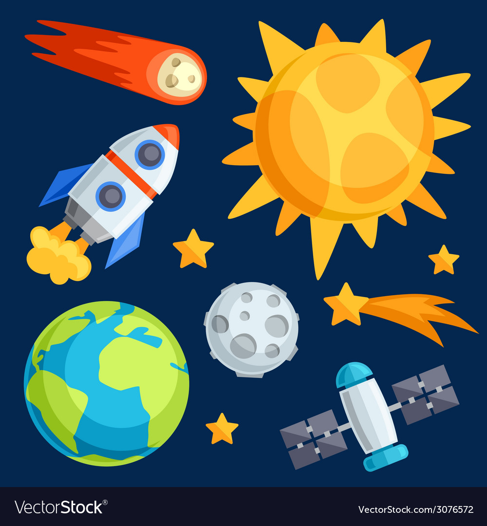 Solar system planets and celestial bodies vector