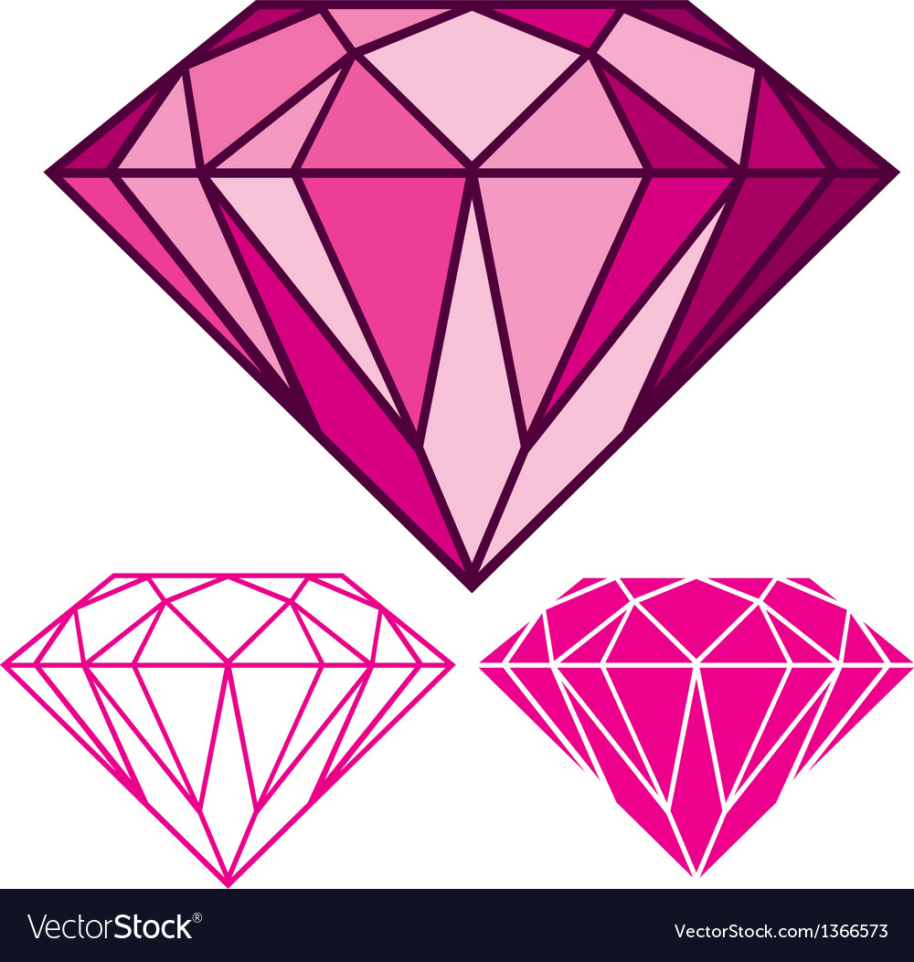 Pink diamond vector