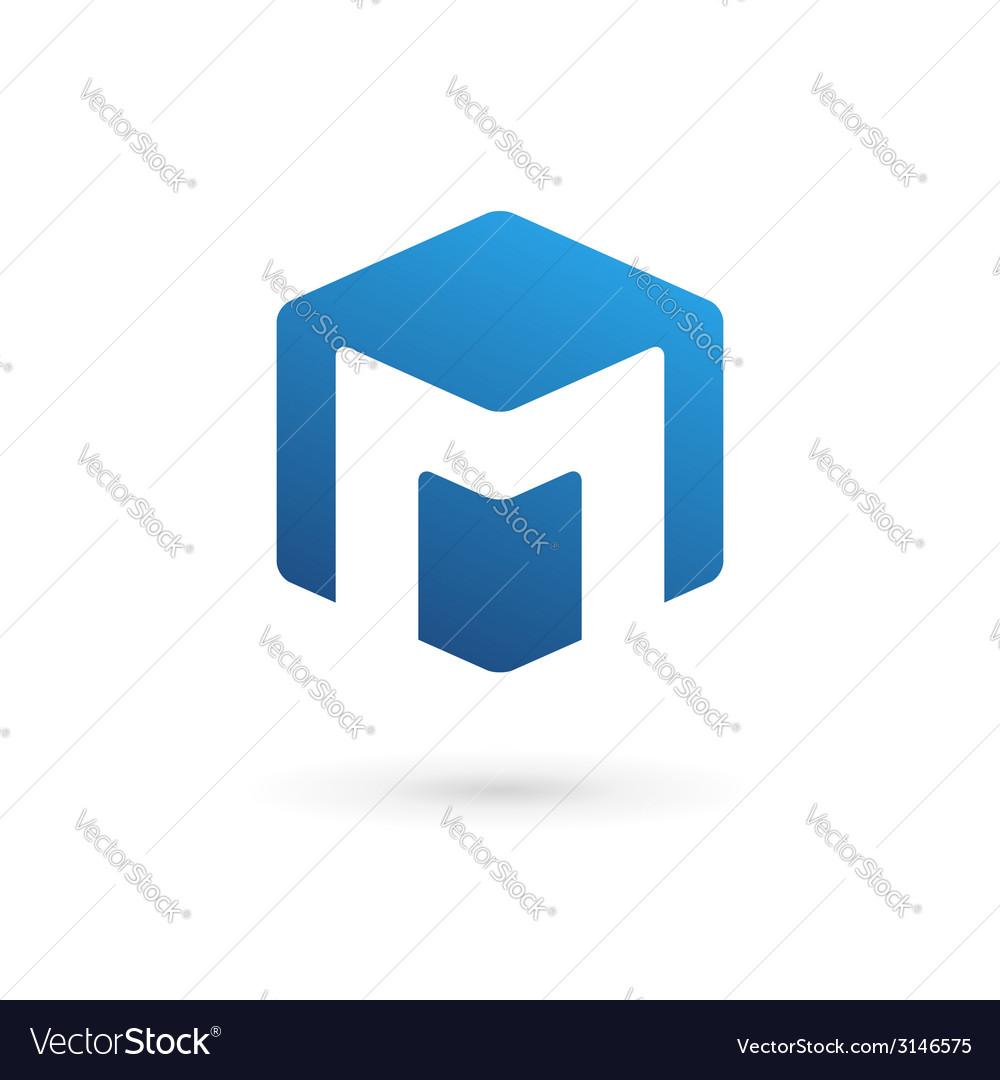 Letter m cube logo icon design template elements vector